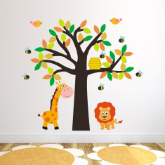 Tree With Lion, Giraffe and Bees Wall Sticker
