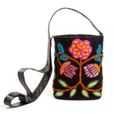 Hand embroidered bucket bag in floral on black