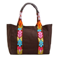 Embroidered canvas bag in chocolate