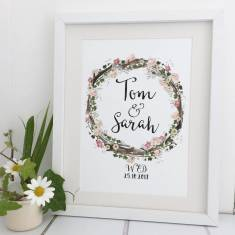 Personalised rustic wedding date print