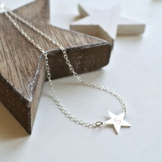 Personalised Sterling Silver Little Shining Star Initial Necklace