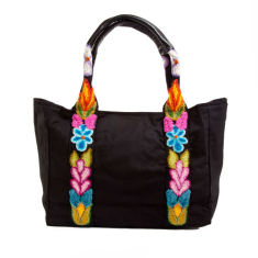 Embroidered canvas bag in black