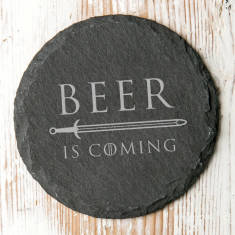 Natural Slate 'Beer Is Coming' Coaster