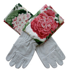 Fuschia blooms washable leather gardening gloves