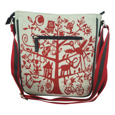Tamelia cotton canvas Red Tree messenger bag