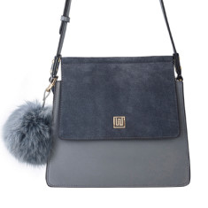 Mademoiselle medium suede & leather shoulder bag - Grey
