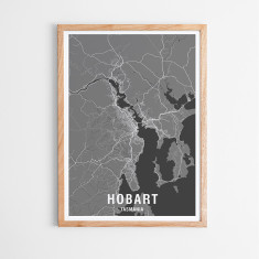 Hobart two-tone map print (various colours)