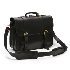 Leather Front Strap Briefcase In Classic Black