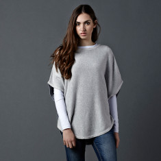 Reversible cotton cashmere poncho in light grey & blue grey