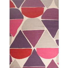 Antique white & velvet red handmade flat weave wool rug
