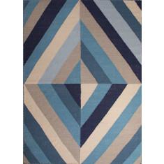 Blue handmade flat weave wool rug