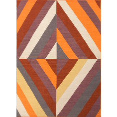 Red oxide & light gold handmade flat weave wool rug