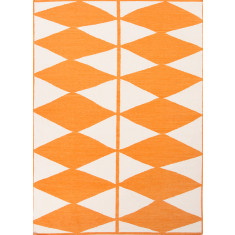 White & orange handmade flat weave wool rug