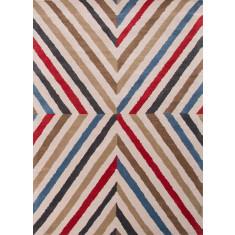 Antique white & velvet red hand-tufted wool rug