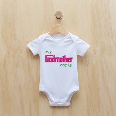Personalised My godmother rocks bodysuit (blue or pink)