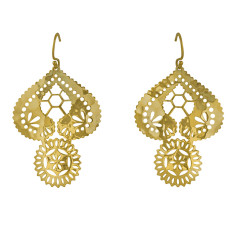 Lace doily large earrings in 18 kt yellow gold plate
