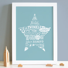 Twinkle Twinkle Little Star, Nursery Rhyme Print