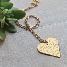 Personalised gold love heart necklace
