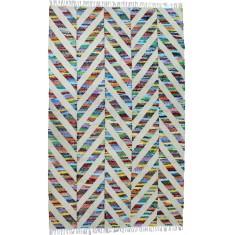 Multi handmade flat weave jute & cotton rug