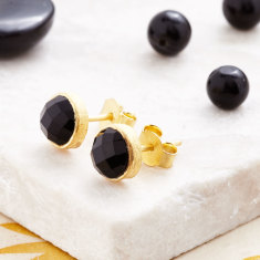 Cupcake Stud Earrings In Gold Plate With Black Onyx