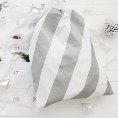 Block stripe santa sack in silver