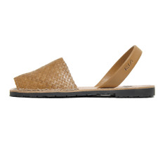Fornells braided leather sandals in oak