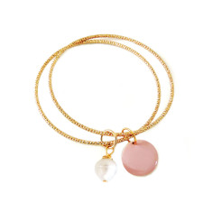 Diamond cut gold bangle duo with freshwater pearl and blush disc