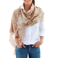 Sequin Amelie Shawl In Tan with Gold