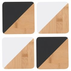 Bamboo Coasters Black and White (set of 4)
