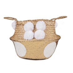 Seagrass Belly Basket Gold and White Polka Dot