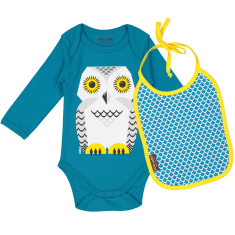 Snow Owl onesie and bib set