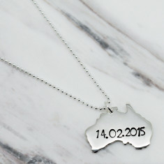 Personalised Australia sterling silver necklace