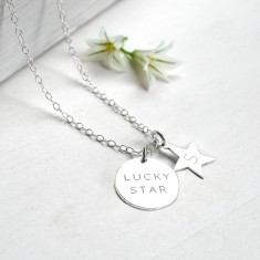 Personalised Sterling Silver Lucky Star Disc and Initial Star Necklace