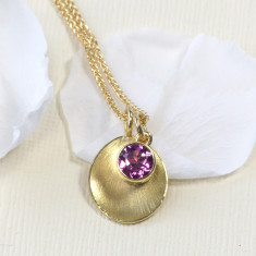 Tourmaline Petal Pendant in 18ct Gold