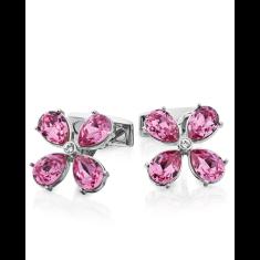 Flower cufflinks with Swarovski crystals