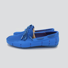 Splash boat shoe in light blue with blue laces