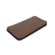Bost taupe leather travel wallet