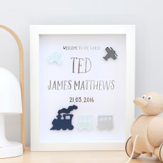 Personalised Trains and Planes Silver Foil Birth Announcement Paper Art Frame