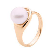 Pink button pearl 9ct rose gold crossover ring