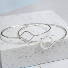 Sterling Silver Geo Shape Bangle