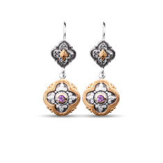Sophia Sterling Silver & Gold Vermeil Amethyst Drop Earrings