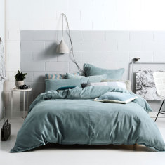 Willow stone blue quilt cover set