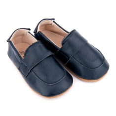 Pre-walker leather loafer shoes in navy