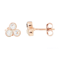 Trio Studs In Rose Gold Plate