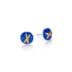 Gold cross porcelain studs in blue