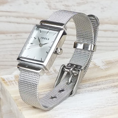 Monogrammed Silver Ladies Watch With Detailed Strap