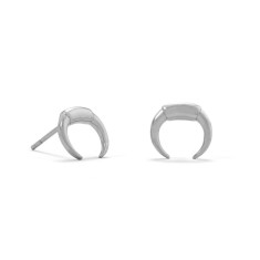 Mini Crescent Moon Studs - silver