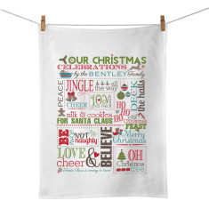 Family Christmas chart personalised tea towel