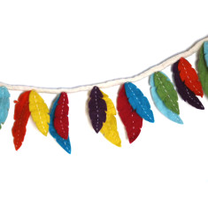 Felt feather garland