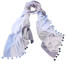 Alto Hand Loomed Stripe Cotton Pom Pom Scarf (various colours)